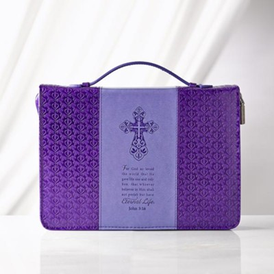 John 3:16 Bible Cover, Lux-Leather, Purple, Large  -