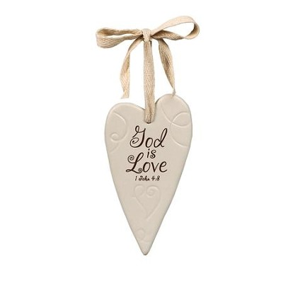 God Is Love Ceramic Heart Ornament  -
