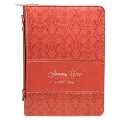 Amazing Grace Bible Cover, Lux-Leather, Coral, Medium  -