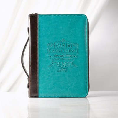 I Can Do Everything Bible Cover, Lux-Leather, Blue, Medium  -