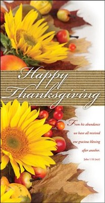 Happy Thanksgiving (John 1:16, NLT) Offering Envelopes, 100   -