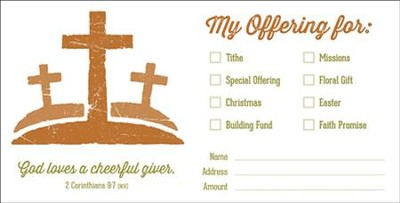 My Offering Multiple Use Envelopes (2 Corinthians 9:7, NIV) 100, Bill size  -