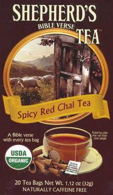 Organic Spicy Red Chai Bible Verse Tea, Box of 20 Tea Bags  -