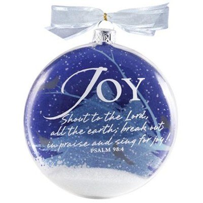 Joy Snow Globe Glass Ornament  -