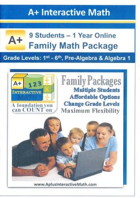 A+ Interactive 1 Year Online Math Family Package (9 Students)  -