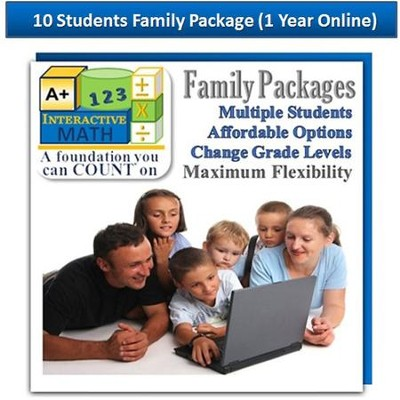 A+ Interactive 1 Year Online Math Family Package (10 Students)  -