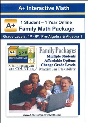 A+ Interactive 1 Year Online Math Family Package (1 Student)  -