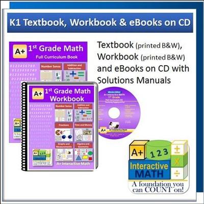 A+ Interactive Math Textbook, Workbook & eBook CD Software Bundle, Grade 1