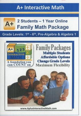 A+ Interactive 1 Year Online Math Family Package (2 Students)  -