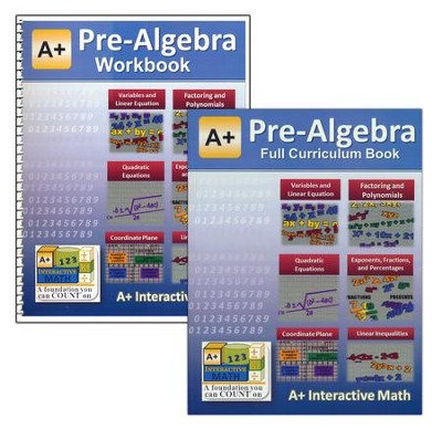 A+ Interactive Math Full Curriculum Textbook & Workbook Bundle, Pre-Algebra (Grade 7)  -