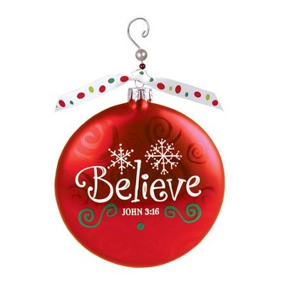 Believe (John 3:16), Glass Ornament With Swirl  -