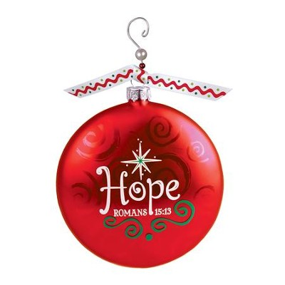 Hope Glass Ornament with Swirl, Romans 15:13   -