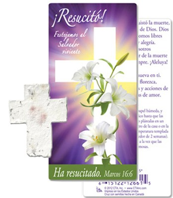 ¡Resucitó! Cruz de Semillas Plantable y Marcador  de Libro (Risen! Plantable Seed Cross and Bookmark)  -