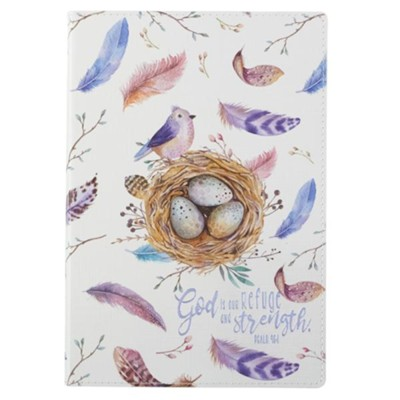 God is Our Refuge and Strength Journal, Lux Leather Flexcover, Bird's Nest Design  -