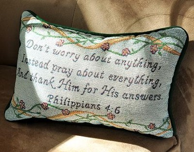 Pray About Everything, Tapestry Word Pillow   -