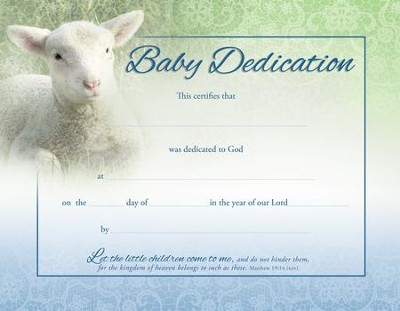 Lamb (Matthew 19:14, NIV) Baby Dedication Certificates, 6  -
