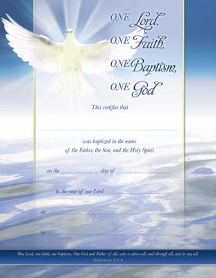 One Lord (Ephesians 4:5-6) Baptism Certificates, 6 - Christianbook.com