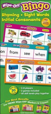 Rhyming, Sight Words, Initial Consonants Wipe-Off Bingo  -