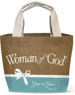 Woman of God Purse-Style Jute Tote Bag   -