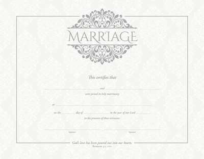 Marriage (Rom 5:5, NIV) Silver Foil Embossed Certificates, 6  -