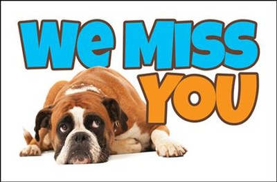 Dejected Dog (1 Thessalonians 1:2) Missed You Postcards, 25  -
