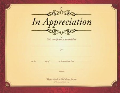 In Appreciation (1 Thessalonians 1:2 ) Gold Foil Embossed Certificates, 6  -