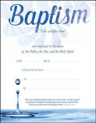 water baptism certificates  Baptism (1 Peter 3:21, NIV) Certificates, 6 - Christianbook.com