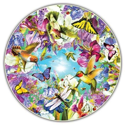 Hummingbirds, 500 Piece Round Jigsaw Puzzle   -