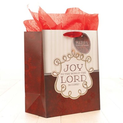 Joy To the World Gift Bag, Red, Medium  -