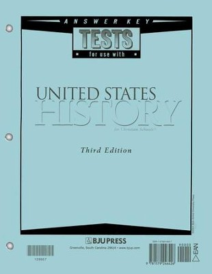 BJU Heritage Studies 11: United States History, Tests Answer Key  (Third Edition)  -