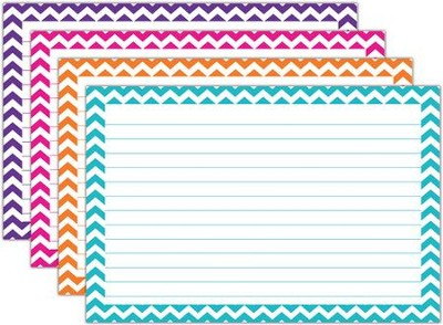 Border Index Cards - 4 x 6 Lined Chevron, Pack of 75  -