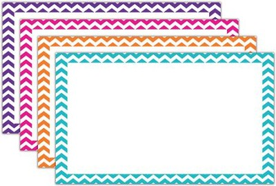 Border Index Cards - 3 x 5 Blank Chevron, Pack of 75  -