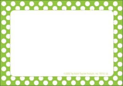 Name Tags - Green Polka Dots, Pack of 31  -