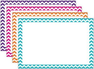 Border Index Cards - 4 x 6 Blank Chevron, Pack of 75  -