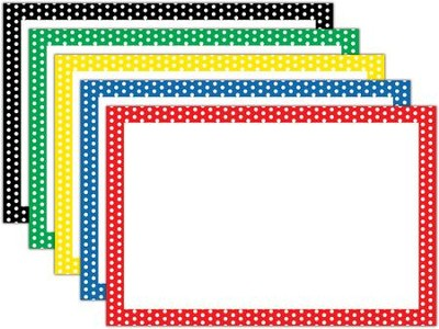 Border Index Cards - 4 x 6 Blank Assorted Polka Dots, Pack of 75  -