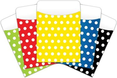 Peel & Stick Book Pockets: Assorted Polka Dots, Pack of 25  -
