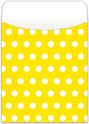 Peel & Stick Book Pockets: Yellow Polka Dots, Pack of 25  -