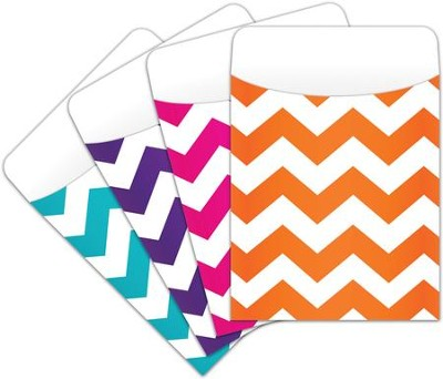 Peel & Stick Book Pockets: Chevron Assorted, Pack of 25  -