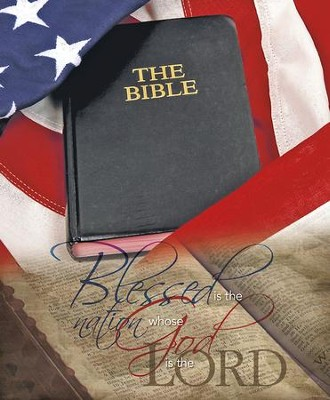 Open Bible and Flag Blessed Is the Nation, Pack of 100 Large Bulletins  -