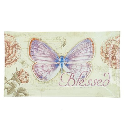 Blessed, Butterfly Glass Tray  -