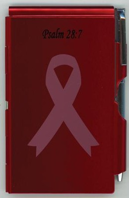 Pink Ribbon Metal Note Case and Pen Set, Red   -