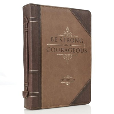 Strong and Courageous Bible Cover, Brown, Medium  -