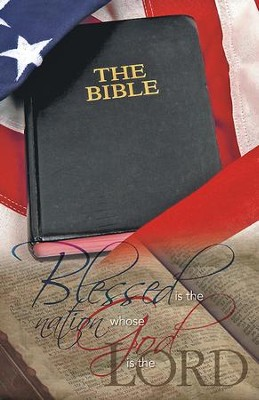 Open Bible and Flag Blessed Is the Nation, Pack of 50 Bulletins  -