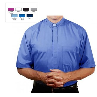 Men's Short Sleeve Clergy Shirt with Tab Collar: French Blue, Size 19  -