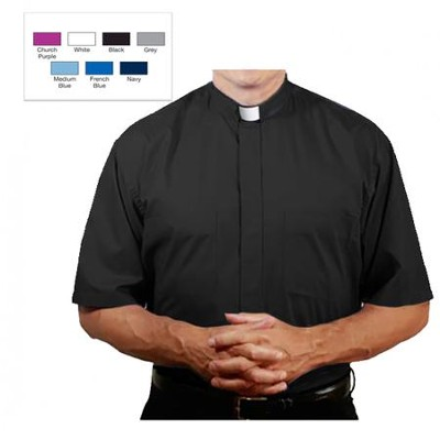Men's Short Sleeve Clergy Shirt with Tab Collar: Black, Size 16  -