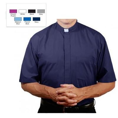 8e4ccba4a55 Men s Short Sleeve Clergy Shirt with Tab Collar  Navy