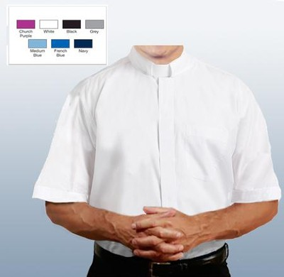 Men's Short Sleeve Clergy Shirt with Tab Collar: White, Size 19  -