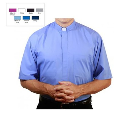 Men's Short Sleeve Clergy Shirt with Tab Collar: Medium Blue, Size 14  -