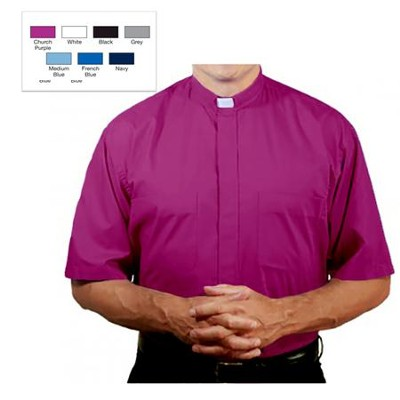 Men's Short Sleeve Clergy Shirt with Tab Collar: Church Purple, Size 19.5  -