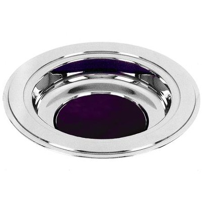 Silver Tone Offering Plate, Purple Pad  -